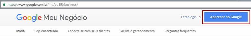 Inserir empresa no Google