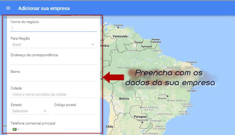 Mapa para colocar empresa no Google