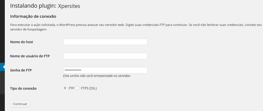 Erro de FTP Wordpress